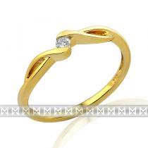 Pretis Zásnubní diamantový prsten ze žlutého zlata 1ks 0,05ct