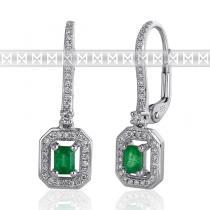Pretis Diamantové náušnice, bílé zlato briliant, smaragd a diamanty