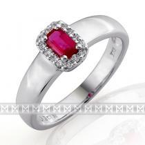 Pretis zásnubní prsten s diamantem, bílé zlato briliant, přírodní rubín 386032 3860323