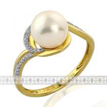 Pretis Zásnubní diamantový prsten s bílou perlou GEMS diamonds, žluté zlato 3810943 3810943