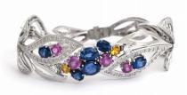 Optima Diamant diamantový náramek se modrými a růžovými safíry a diamanty