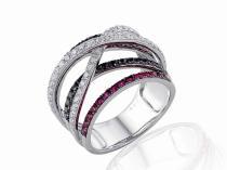 Pretis prsten z bílého zlata s rubíny a diamanty 3861497-0-56-9