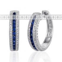 Pretis Diamantové náušnice, bílé zlato briliant, safír - kruhy osazené diamanty