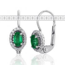 Pretis Diamantové náušnice, bílé zlato briliant, smaragd 3880122-0-0-96