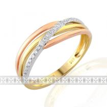 Luxurgold prsten s diamantem, kombinace bílé, žluté, AU brilianty 3811441