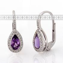 Pretis Diamantové náušnice, bílé zlato briliant, ametyst fialový 3880800-0-0-95