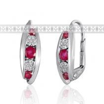 Pretis Diamantové náušnice, bílé zlato briliant, rubín 3881038-0-0-94