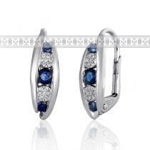 Pretis Diamantové náušnice, bílé zlato briliant, safírové náušnice 3881042-0-0-92