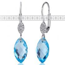 Pretis Diamantové náušnice, bílé zlato briliant, modrý topaz 3880367-0-0