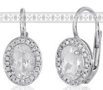 Pretis Diamantové náušnice s brilianty a velkými bílými blue topazy 3880137
