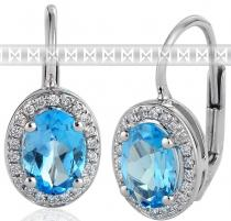Pretis Diamantové náušnice s brilianty a velkými modrými blue topazy bílé zlato 3880138
