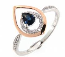 Pretis Zásnubní prsten s diamantem s modrým safírem z bílého zlata s červenou úpravou
