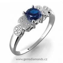 Pretis GEMS prsten s diamanty, modrý safír, bílé zlato, Michaela