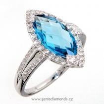 Pretis prsten s diamanty, blue topaz, bílé zlato