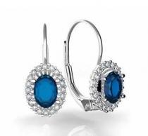 Pretis náušnice s diamanty, modrý safír, bílé zlato, Natalie