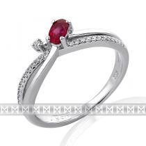 Pretis Zásnubní diamantový prsten s diamantem, bílé zlato briliant, rubín
