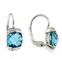 Pretis Náušnice s diamanty, blue topaz, kolekce Glare, bílé zlato