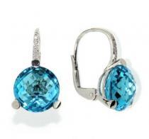 Pretis Náušnice s diamanty, blue topaz, kolekce Natural, bílé zlato