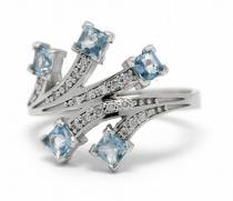 Optima Diamant Diamantový prsten s brazilskými akvamaríny 585/3,43gr J-22188-13