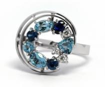 Optima Diamant prsten se safírem,akvamarínem a diamanty 585/4,88gr J-21358-12