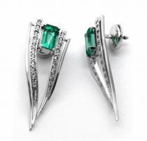 Optima Diamant náušnice se zelenými smaragdy 585/5,54gr J-20220-11