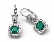 Optima Diamant náušnice s zelenými smaragdy 585/4,32gr J-20281-11