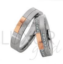 Pretis snubní prsteny červeno bílé zlato 436-500-501.4 kombinace