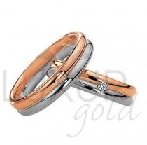 Pretis snubní prsteny červeno bílé zlato 436-504-505.4 - kombinace zlata
