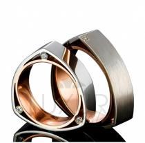 Pretis snubní prsteny, červeno bílé zlato, 436-510-511