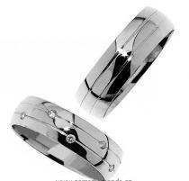 Pretis Zlatý snubní prsten Gems Line, 436-0345_0346 z bílého zlata