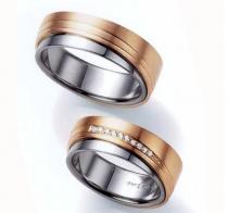 Pretis Zlatý snubní prsten GEMS EXCELENT, 431-0303-0304 z bílého a červeného zlata