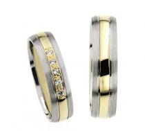 Pretis Zlatý snubní prsten GEMS EXCELENT, 436-0621_622 z bílého a žlutého zlata
