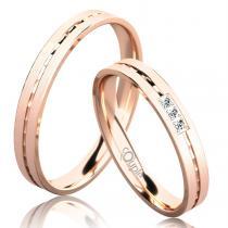 Pretis EGREMNI snubní prsteny z růžového zlato C 3 N 21 M