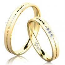 Pretis EGREMNI snubní prsteny žluté zlato C 3 N 21 M