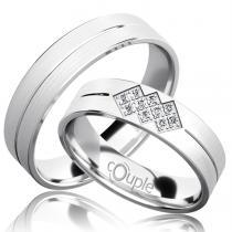 Pretis PALM snubní prsteny bílé zlato C 5 PCW 3 M