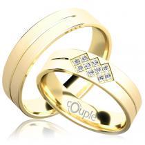 Pretis PALM snubní prsteny žluté zlato C 5 PCW 3 M
