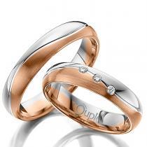 Pretis VARADERO snubní prsteny kombinace růžové a bílé zlato C 4 WN 2 BC