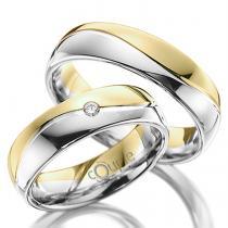 Pretis VARADERO snubní prsteny kombinace bílé žluté zlato C 5 WN 4 BZ