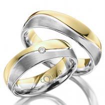Pretis VARADERO snubní prsteny kombinace bílé žluté zlato, mat C 5 WN 4 B-M Z