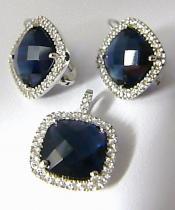Luxusní mohutná stríbrná rhodium souprava s modrými safíry 030087800003