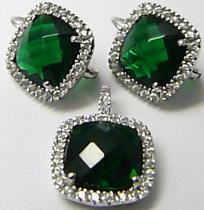 Luxusní mohutná stríbrná rhodium souprava se zelenými smaragdy 030087400004
