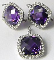 Luxusní mohutná stríbrná rhodium souprava s fialovými ametysty 030286400002