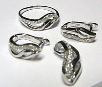 Holan Jaroslav Luxusní mohutná rhodiovaná stříbrná souprava prsten,přívěs,náušnice