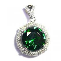 JVD Luxusní rhodiovaný stříbrný přívěšek SVLSP30618L1F2 se smaragdem