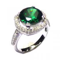 JVD Luxusní rhodiovaný stříbrný prsten SVLSL30458L1F2 se smaragdem
