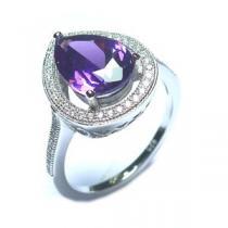 JVD Luxusní rhodiovaný stříbrný prsten SVLSE60201C1F2 s ametystem