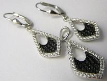 Luxusní stříbrná rhodium souprava s černými a čirými zirkony -visací 03031180001