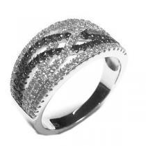 JVD Luxusní fasovaný černo stříbrný stříbrný prsten SVLSL30540A1F2