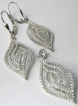 Luxusní mohutné visací stříbrná rhodiovaná souprava posetá zirkony 030311400001