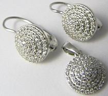 Luxusní rhodium dámská stříbrná souprava posetá zirkony 030063000002